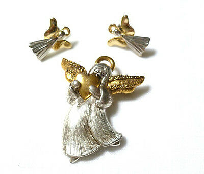 ANGEL BROOCH with matching pierced ANGEL EARRINGS signed LC Christmas Holidays