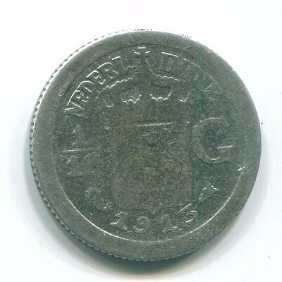 1913 Netherlands East Indies 1/10 Gulden Silver Colonial Coin Nl13286#3