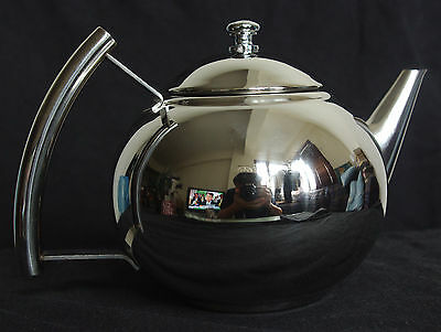 SALE ! BRAND-NEW 35 oz. (1 L.) MIRROR POLISHED STAINLESS STEEL TEAPOT w/ INFUSER