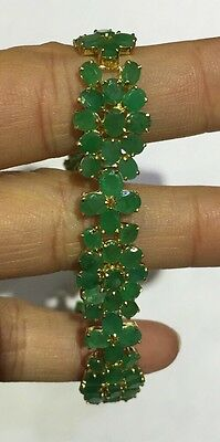 14k Solid Yellow Gold Bracelet W/Natural Oval Emerald 23.99CT 7 Inches14.60GM