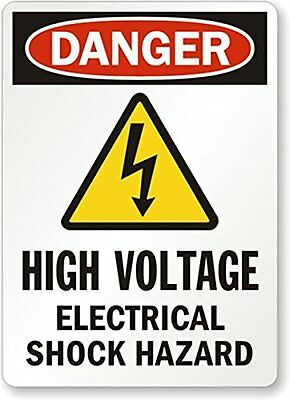 "SmartSign Adhesive Vinyl OSHA Safety Sign, Legend ""Danger: Electrical Shock 14"""