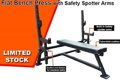 OLYMPIC FLAT BENCH PRESS WITH SAFETY SPOTTER ARMS Home Gym