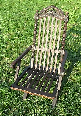 Antique Foldable Diner Deck Arm Chair Carved Wood Garden Chair 19th Century WOW