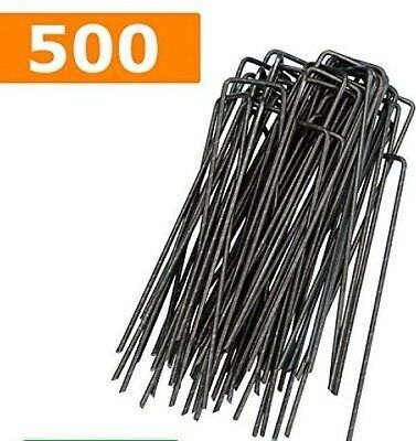 500x Garden Securing Pegs U-shaped Pins Steel Artificial Grass Weed Outdoor NEW