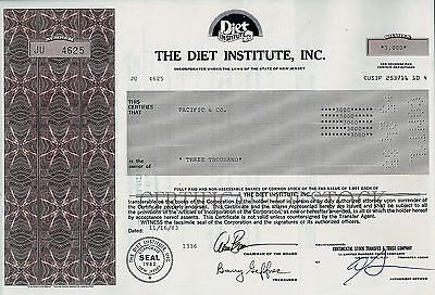 The Diet Institute Inc., New Jersey, 1983 (3.000 Shares)