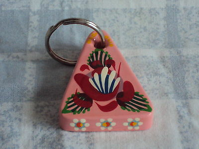 Pink Triangular Wooden Key Ring, Narrow Boat Art, Barge Ware, Canal , Folk Style