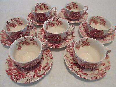 7 Johnson Brothers Vtg ENGLISH CHIPPENDALE CUPS & SAUCERS Red Pink Ironstone ss