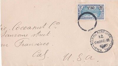 French Polynesia 1929 Cover Marine Post Office/RMS Tahiti TPO d.s. {Below}