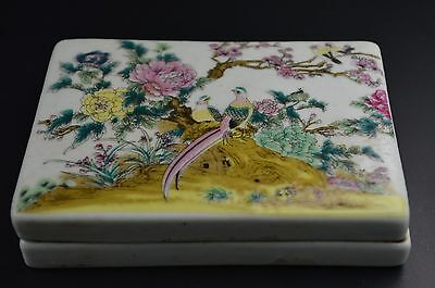 Old Collectibles Porcelain Hand Drawing Birds Flower Ancient Chinese Ink Stone