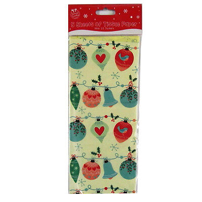 Christmas Printed Tissue Paper - 6 Designs - 680 x 500mm and 10 Circle Stickers