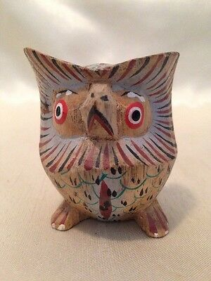 16F Vintage Carved and Painted Wooden Owl Made In Indonesia