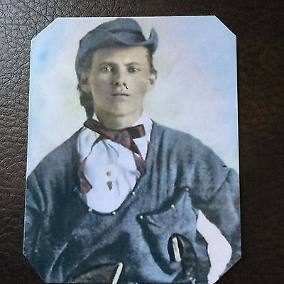 """Jesse James """"Rare Dressed"""" as a Quantrill Guerilla  Colorized TinType C749NP"""