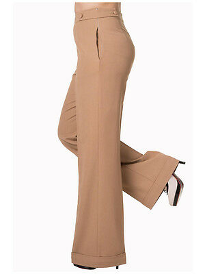 Vintage Style Banned 1940s50s Swing Pants High Waist Trousers Sand RRP £32 UK 16