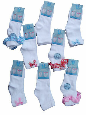 Girls Ankle Sock 3 Pair White Ankle Sock With Gingham Lace & Bow Pink,Blue,Red,