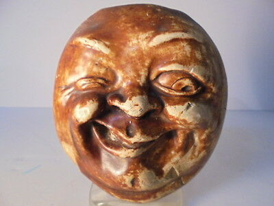 """Vintage 1920's 1930's Admiration Cigar Co """"MOON FACE"""" Chalkware Advertising Sign"""