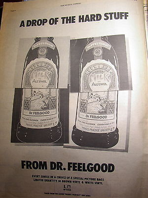 Vtg Original press advert/clipping Dr Feelgood Milk and alcohol Poster size NME