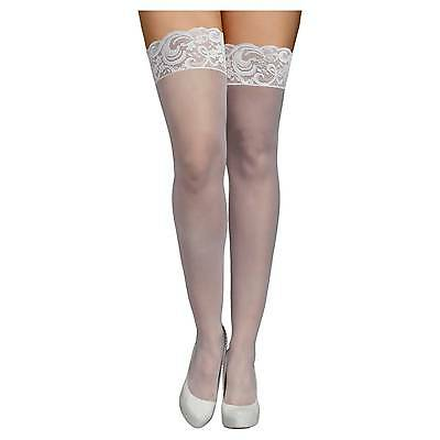 iCollection® Women's Plus Size Lace Top Sheer Thigh High Stockings - Whi...