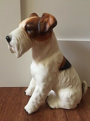 "Estate Find! Vintage Porcelain Wire Hair Fox Terrier Dog Figurine Large 9"" Japan"