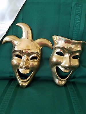 Vintage Brass Theater Mask Face & Court Jester Wall Art From India