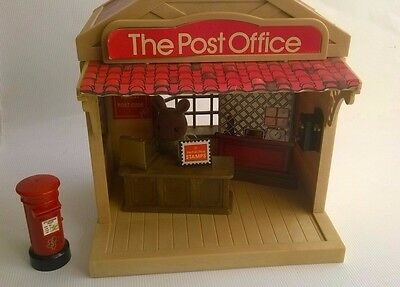 Vintage Sylvanian Families Post Office With Figure Assistant & Accessories Box