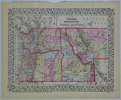 1872 Genuine Antique Map Oregon, Washington, Idaho, Montana. S A Mitchell Jr