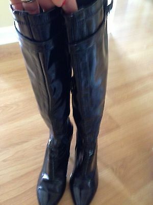 Women's NINE WEST Boots Black High Heel Patent Leather Size 7M pointed toe