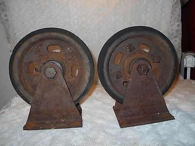Antique Cast Iron Industrial Nutting Cart Wheels Casters Factory Table Steampunk