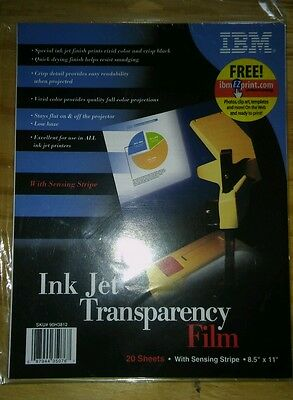 Brand New Sealed Ibm Transparency For Ink Jet Printers 20 Sheets Clear Film