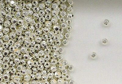 925 Sterling Silver 4mm Faceted Round Spacer Beads, Choice of Lot Size & Price