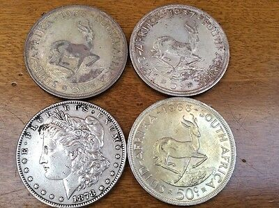 SOUTH AFRICA 5 Shillings 1956,1957 ,& 1963-50cent. -Silver -