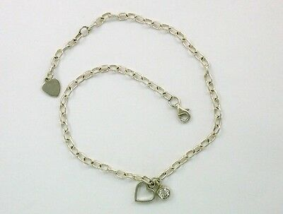 925 Sterling Silver Heart Rolo Chain Anklet, Hearts & Love Theme