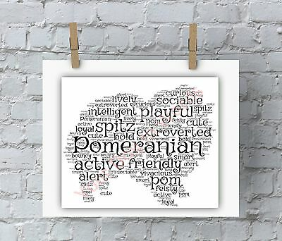 Personalised Pomeranian word art Dog gift Pet Keepsake A3 A4 or Framed