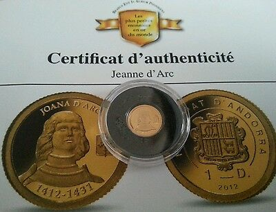 1 DINER DINAR $ OR PUR 2012 GOLD COIN ORO ANDORRE ANDORRA Jeanne d'Arc EURO €