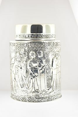 Fine Victorian Derby Silver Company Sterling Silver-Plated Lidded Tea Caddy