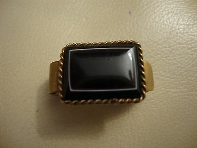 Nice old vintage antique Victorian scarf clip rolled gold plated agate stone set