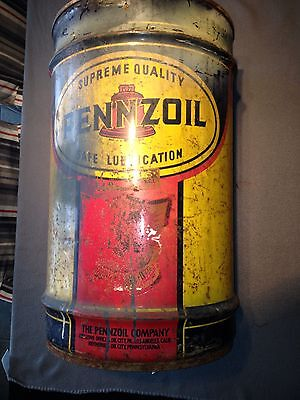 Classic Early Vintage 16 Gal Pennzoil Oil Can Drum Barrel From Oil City Penn GVC
