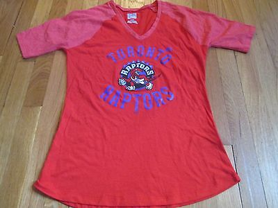 Women's Majestic Nba Hwc Toronto Raptors Red Retro T-Shirt Size M