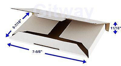 "50- 7 5/8 x 5 7/16 x 11/16"" White DVD Cardboard Carton Mailer Shipping Box Boxes"