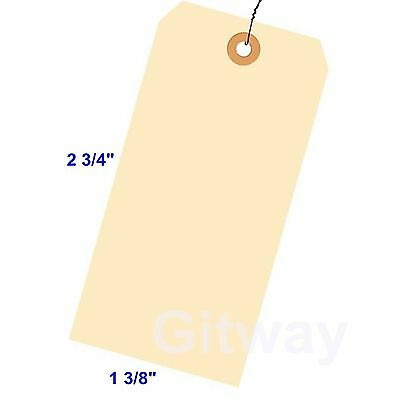 "1000- 2 3/4"" x 1 3/8"" Size 1 Manila Inventory Shipping Hang Tags with Wire 13 Pt"