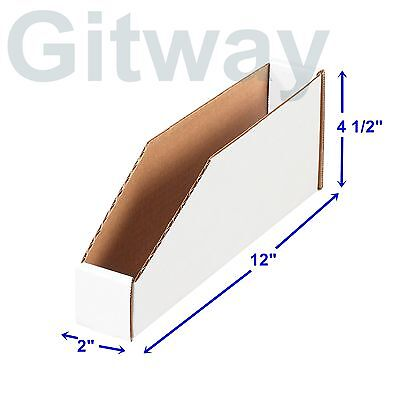 "50- 2"" x 12"" x 4 1/2"" Corrugated Cardboard Open Top Storage Parts Bin Bins Boxes"