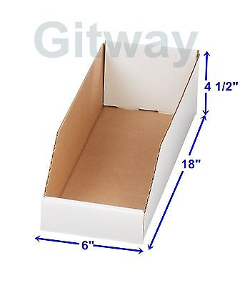 "50- 6"" x 18"" x 4 1/2"" Corrugated Cardboard Open Top Storage Parts Bin Bins Boxes"