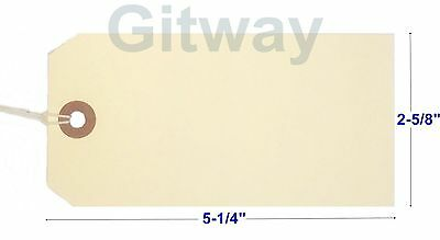 """1000- 5 1/4"""" x 2 5/8"""" Size 6 Manila Inventory Shipping Hang Tags with String"""