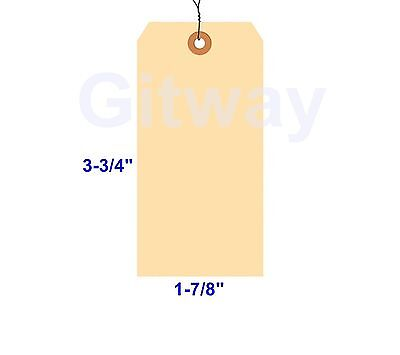 "1000- 3 3/4"" x 1 7/8"" Size 3 Manila Inventory Shipping Hang Tags with Wire 13 Pt"