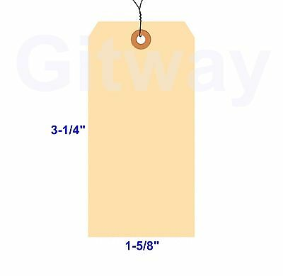 "1000- 3 1/4"" x 1 5/8"" Size 2 Manila Inventory Shipping Hang Tags with Wire 13 Pt"