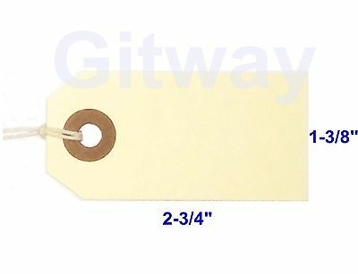 "1000- 2 3/4"" x 1 3/8"" Size 1 Manila Inventory Shipping Hang Tags with String"
