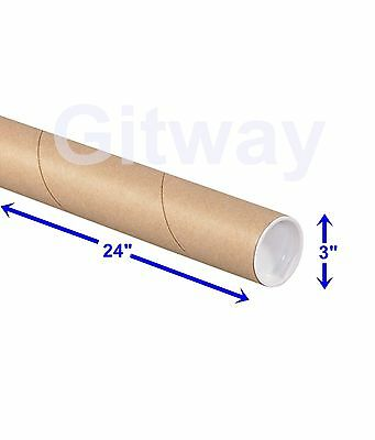 "3"" x 24"" Cardboard Poster Shipping Mailing Mail Packing Postal Tube 24 Box Tubes"