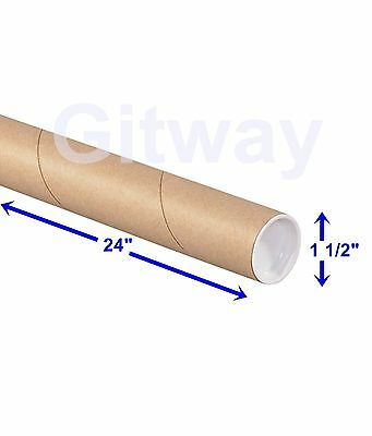 "1 1/2"" x 24"" Cardboard Poster Shipping Mailing Mail Packing Postal Tube 50 Tubes"