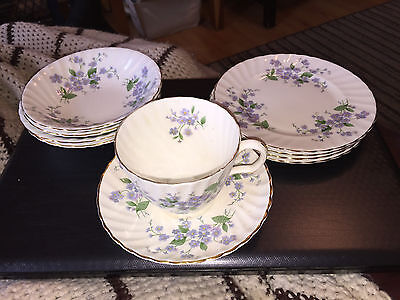 Royal Aderley Forget Me Not Lot 4 Sauce Bowls,4 Bread & Butter & Cup & Saucer