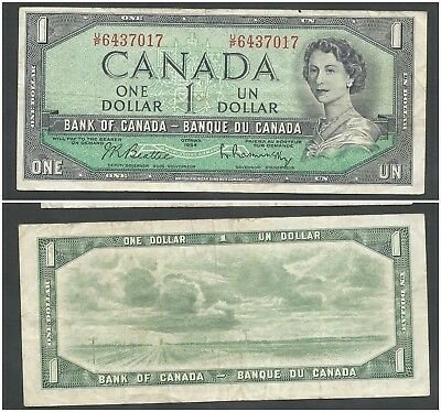 Canada 1 Dollar 1954 (1961-72) in (VF) Condition Banknote P-75b