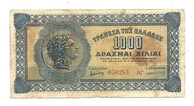 Greece 1000 Drachmai 1941 in (F-VF) Condition Banknote P-117